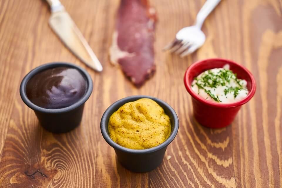 Yellow Mustard, Brown Mustard, Mayo