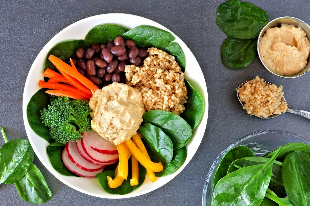 Mixed Vegetables with Hummus
