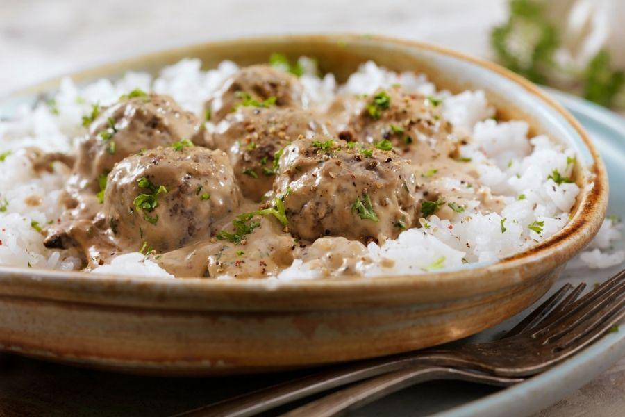 Swedish meatballs with Rice