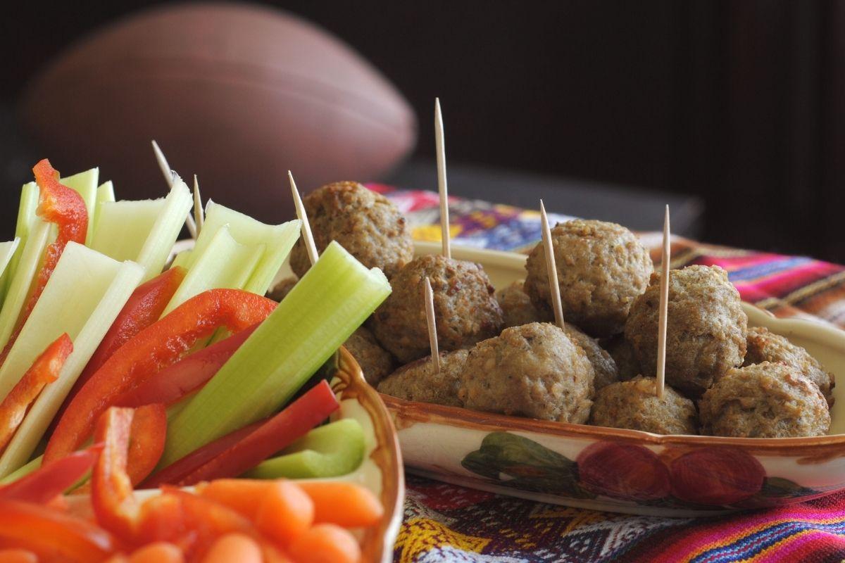 Veggies and Meatballs appetizer